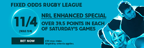 Rugby League Fixed Odds Betting - NRL: Enhanced Saturday Special (June 4th)